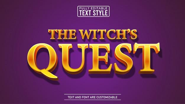 Efeito de texto editável do título e do filme de fantasia golden quest