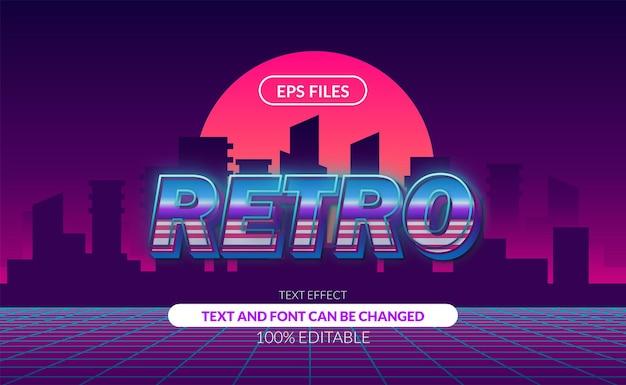 Efeito de texto editável do vintage retro da cidade dos anos 80.
