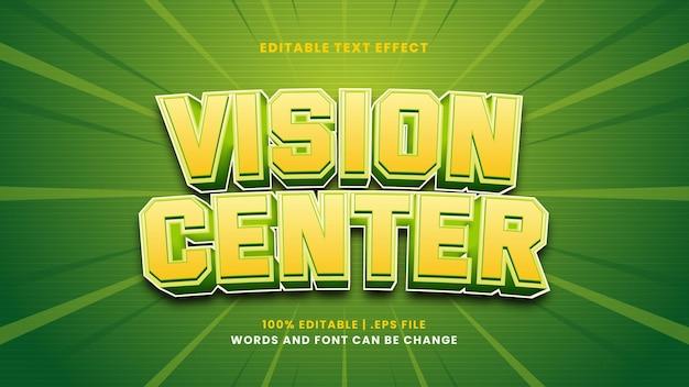 Efeito de texto editável do vision center em estilo 3d moderno