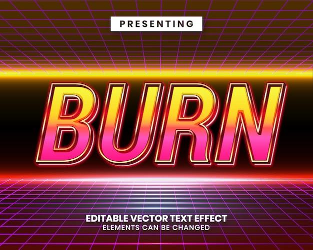 Efeito de texto editável dos anos 80 retrô com cores vibrantes