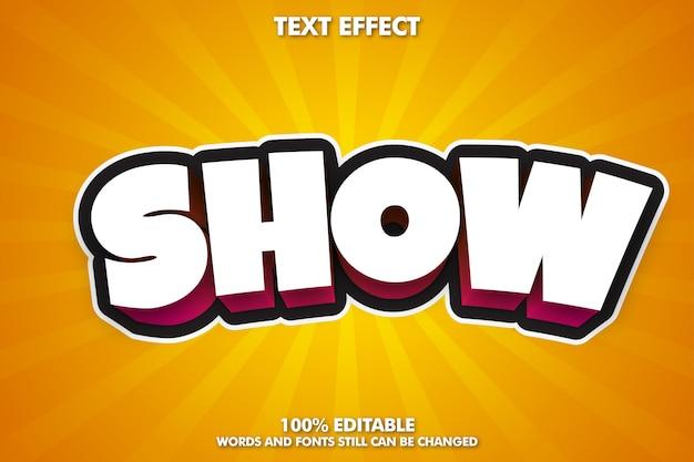 Efeito de texto editável dos desenhos animados, estilo de texto 3d dos desenhos animados