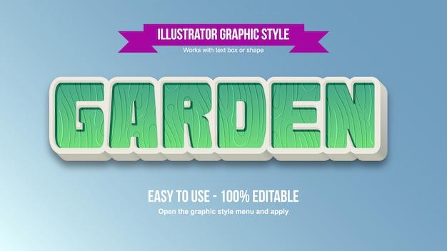 Efeito de texto editável dos desenhos animados verdes do jardim 3d
