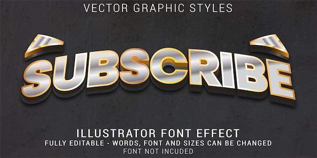 Efeito de texto editável dos estilos gráficos do botão inscrever