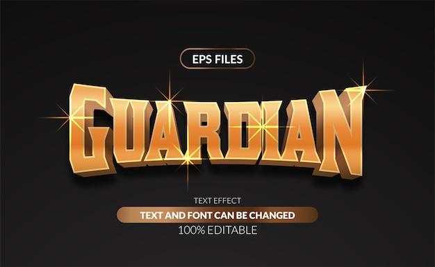 Efeito de texto editável dourado de luxo 3d com serifa vintage.