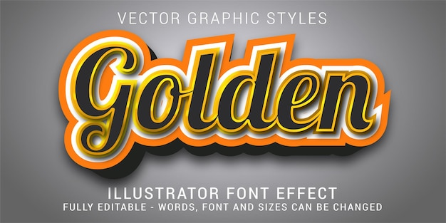 Efeito de texto editável dourado dos estilos gráficos