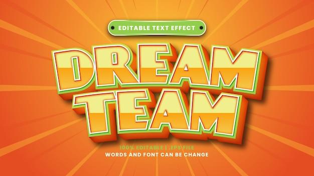 Efeito de texto editável dream team em estilo 3d moderno