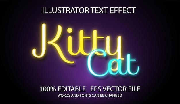 Efeito de texto editável efeito de brilho gatinho