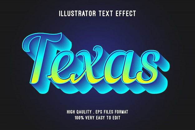 Efeito de texto editável - efeito de estilo azul do texas