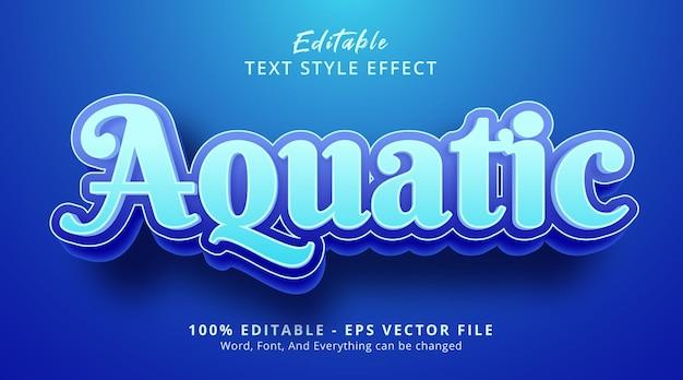 Efeito de texto editável, efeito de estilo de texto aquático em azul oceano