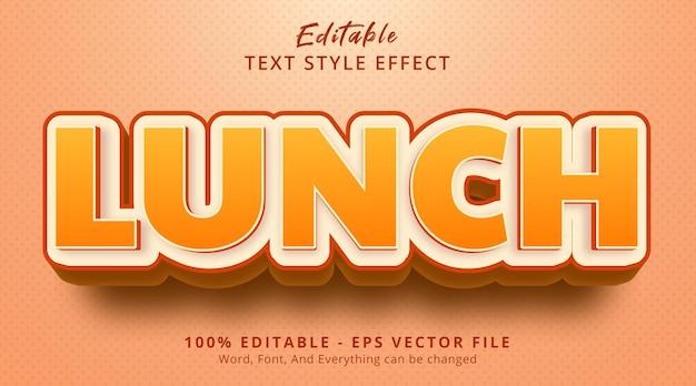 Efeito de texto editável, efeito de estilo de título de texto de almoço
