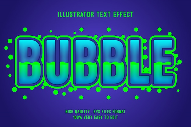 Efeito de texto editável - efeito de estilo líquido 3d bubble