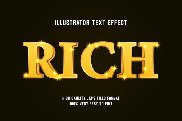 Efeito de texto editável - efeito de luxo rich gold