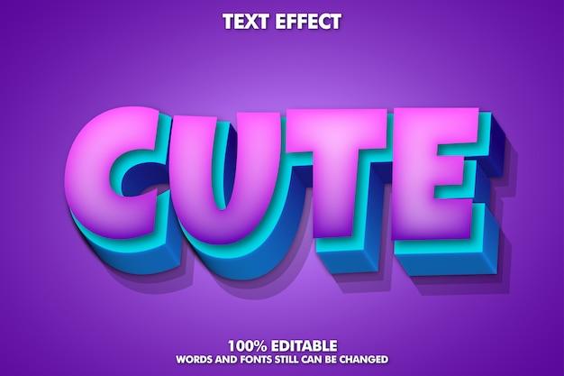 Efeito de texto editável, efeito de texto bonito para etiqueta dos desenhos animados