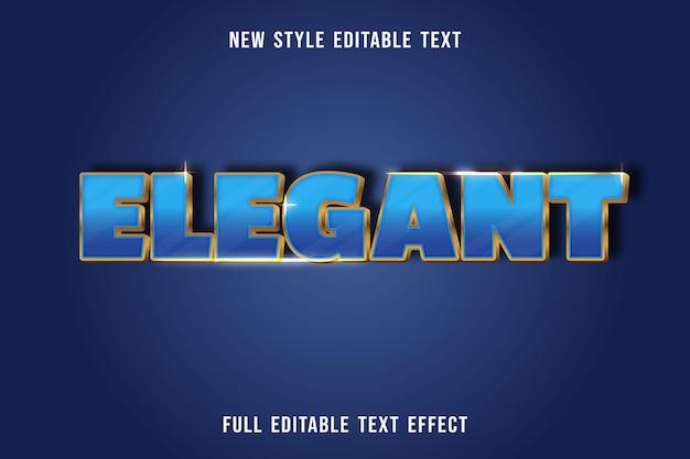 Efeito de texto editável elegante cor azul e dourado