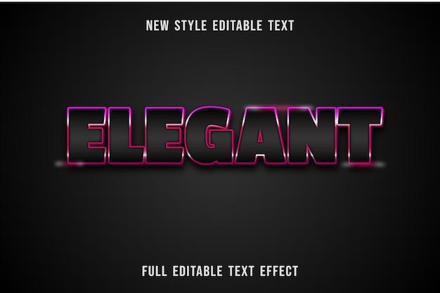 Efeito de texto editável elegante cor preto e rosa
