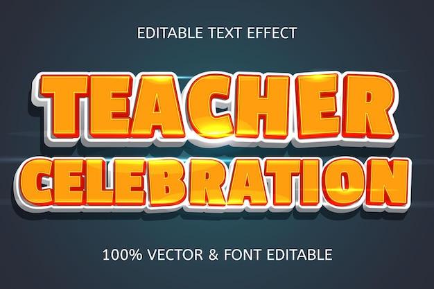 Efeito de texto editável em 3 dimensões no estilo celebração do professor