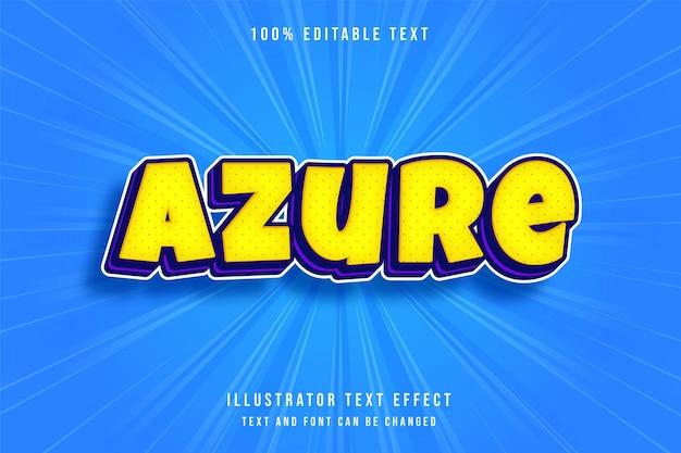 Efeito de texto editável em 3d azure moderno, estilo de texto amarelo roxo e azul