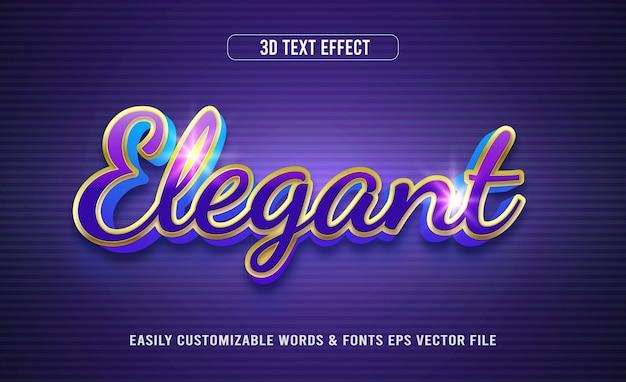 Efeito de texto editável em 3d brilhante e elegante