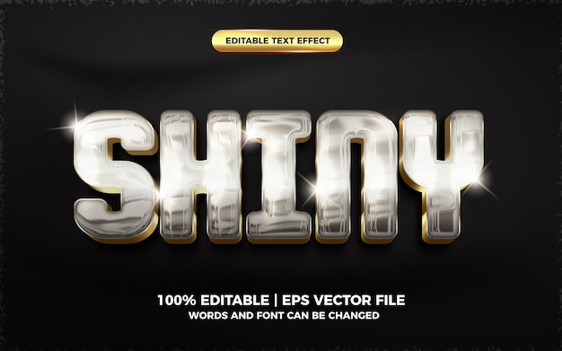 Efeito de texto editável em 3d brilhante prata ouro brilhante