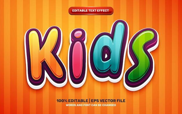 Efeito de texto editável em 3d colorido de heróis de desenhos animados de crianças fofas