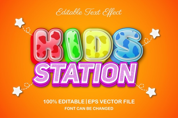 Efeito de texto editável em 3d da estação infantil