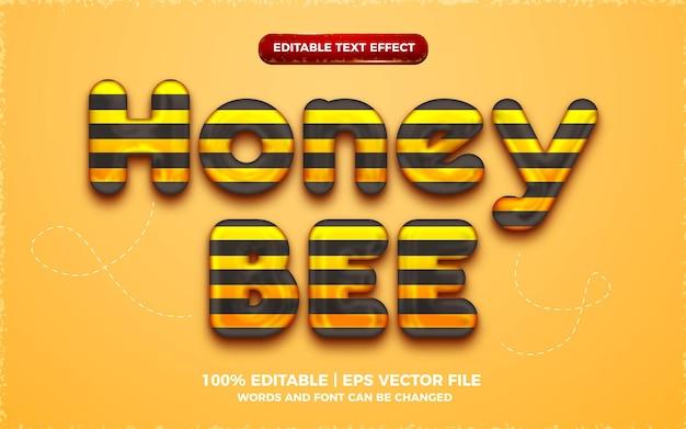 Efeito de texto editável em 3d de abelha de mel