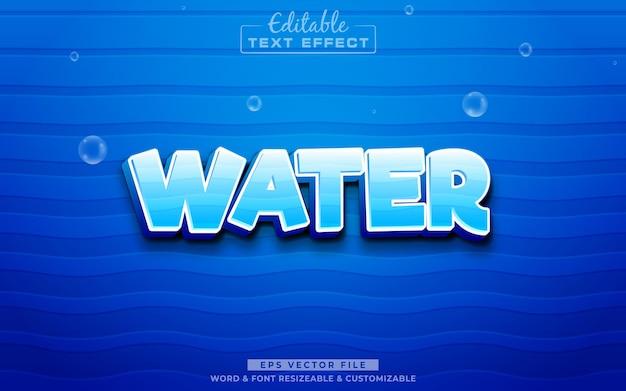 Efeito de texto editável em 3d de água