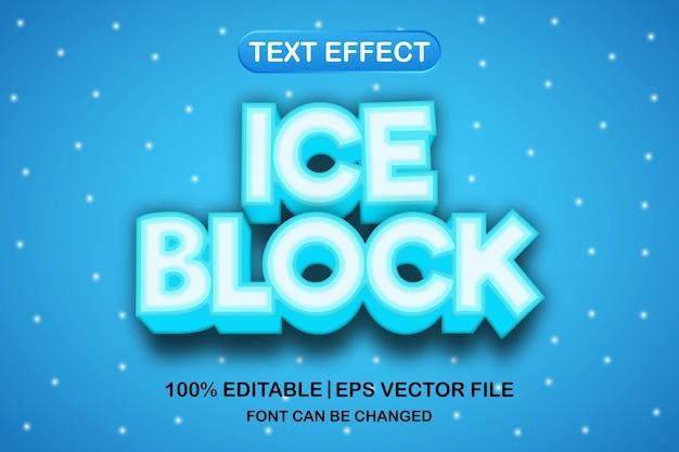 Efeito de texto editável em 3d de bloco de gelo