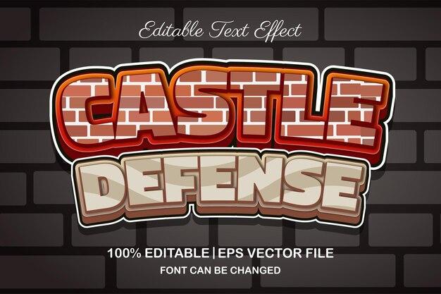 Efeito de texto editável em 3d de defesa de castelo