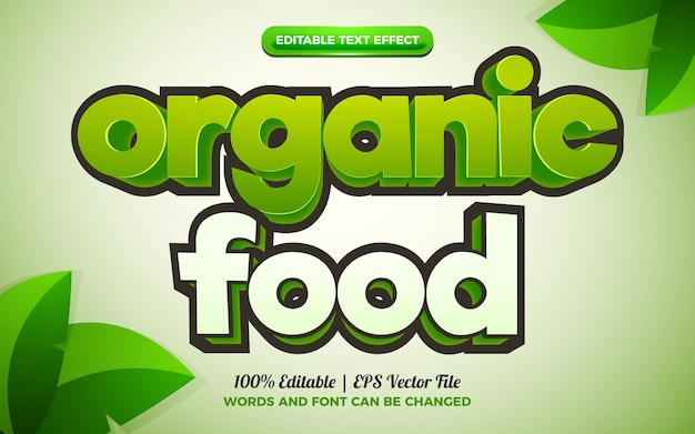Efeito de texto editável em 3d de desenho animado de alimentos orgânicos