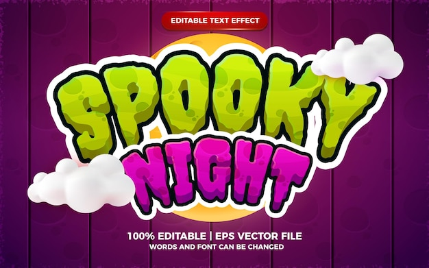 Efeito de texto editável em 3d de desenho animado noturno assustador