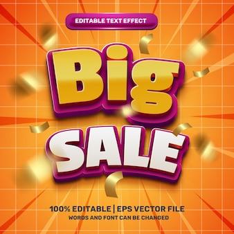 Efeito de texto editável em 3d de grande venda moderno com fitas voadoras douradas