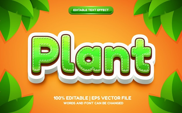 Efeito de texto editável em 3d de planta verde