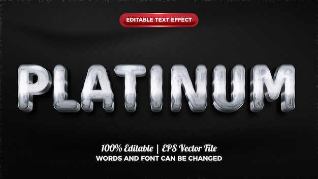 Efeito de texto editável em 3d de platina brilhante cromado