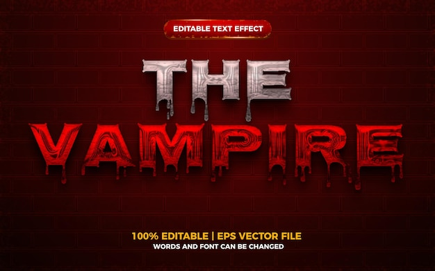 Efeito de texto editável em 3d de sangue de vampiro no dia das bruxas