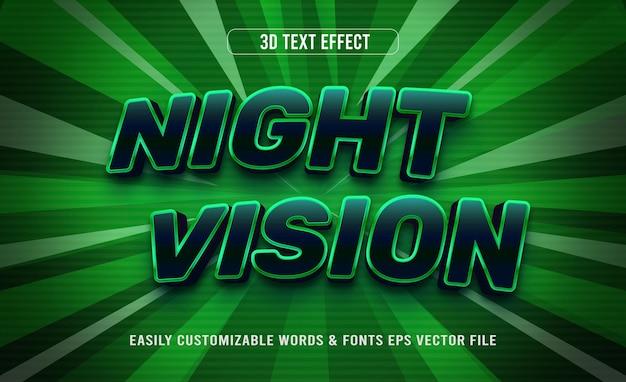 Efeito de texto editável em 3d de visão noturna para jogos verdes