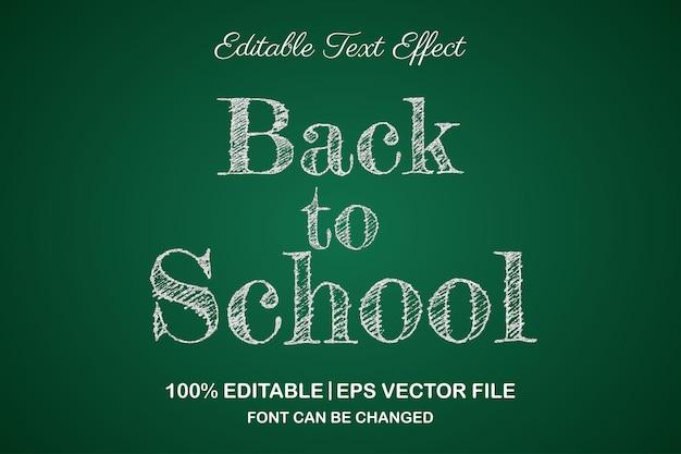 Efeito de texto editável em 3d de volta às aulas