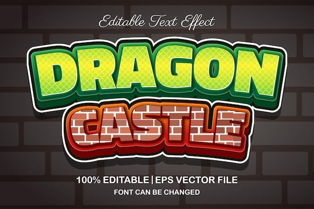 Efeito de texto editável em 3d do castelo do dragão
