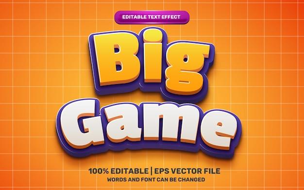 Efeito de texto editável em 3d do herói dos desenhos animados das crianças do grande jogo