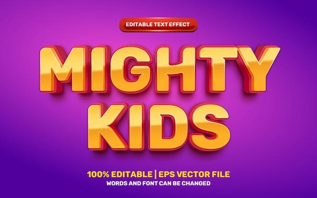 Efeito de texto editável em 3d do herói dos desenhos animados de crianças poderosas