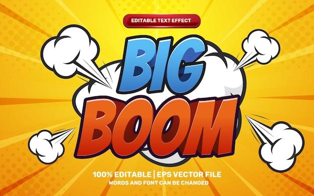 Efeito de texto editável em 3d do herói dos desenhos animados em quadrinhos de crianças engraçadas big boom