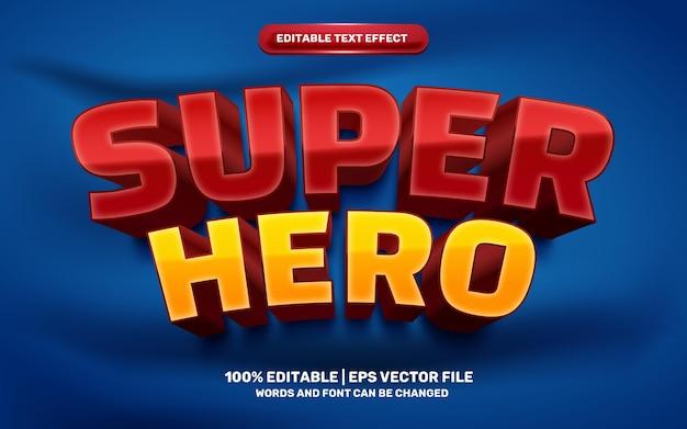Efeito de texto editável em 3d do super-herói amarelo vermelho dos desenhos animados modernos dos desenhos animados