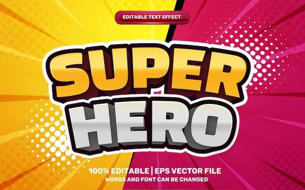 Efeito de texto editável em 3d do super-herói dos desenhos animados retrô dos quadrinhos