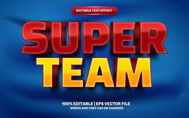 Efeito de texto editável em 3d do super time vermelho amarelo dos desenhos animados modernos dos desenhos animados em quadrinhos