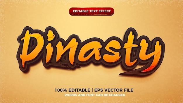 Efeito de texto editável em 3d do título do jogo creative dinasty