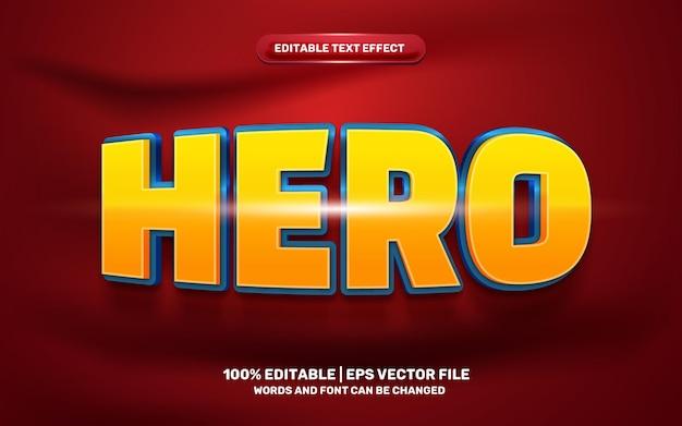 Efeito de texto editável em 3d hero cartoon comic hero