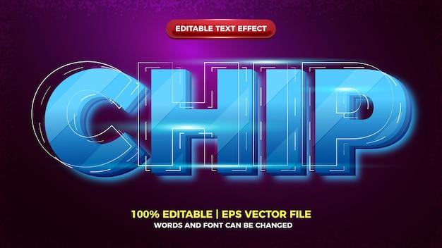 Efeito de texto editável em 3d moderno do chip futuro