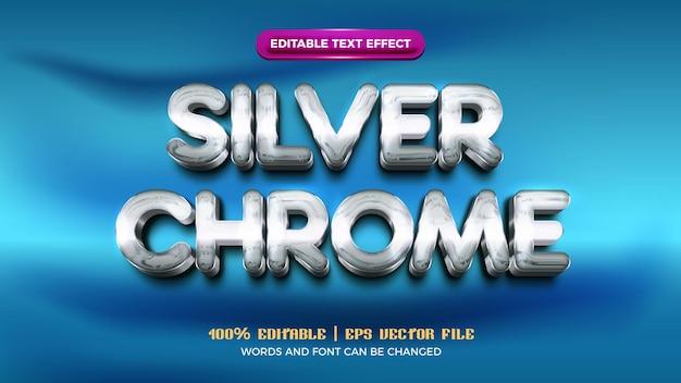 Efeito de texto editável em 3d moderno prata cromado de luxo