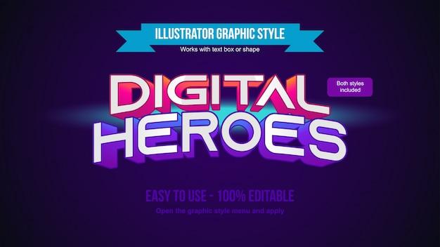 Efeito de texto editável em 3d moderno vermelho e roxo para logotipos e manchetes Vetor Premium