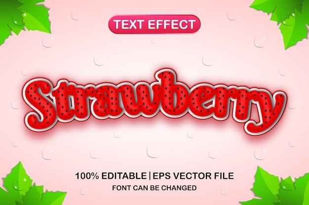 Efeito de texto editável em 3d morango